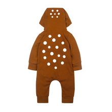 Комбинезон на молнии для новорожденных; осенняя одежда с длинными рукавами для мальчиков и девочек; милый зимний комбинезон с капюшоном; сдельник для ребенка с животными