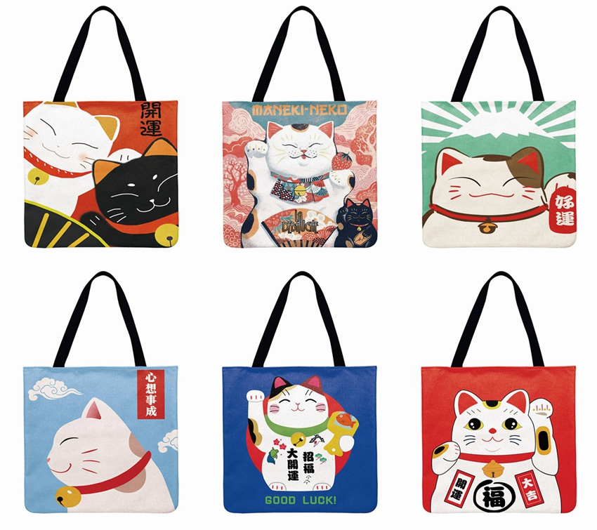 Japanese Lucky Cat Printed Tote Bag Linen Febric Casual Tote Foldable Shoulder Shopping Bag Bag Reusable Women Beach Bag