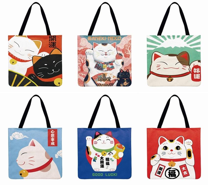 Japanese Lucky Cat Printed Tote Bag Linen Febric Casual Tote Foldable Shoulder Shopping Bag Bag Reusable Women Beach Bag