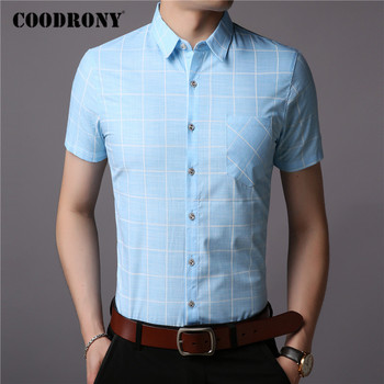 COODRONY Men Shirt Spring Summer Short Sleeve Casual Shirts Cotton Fashion Plaid Camisa Masculina With Pocket Mens Dress C6008S pocket patched plaid curved hem shirt dress