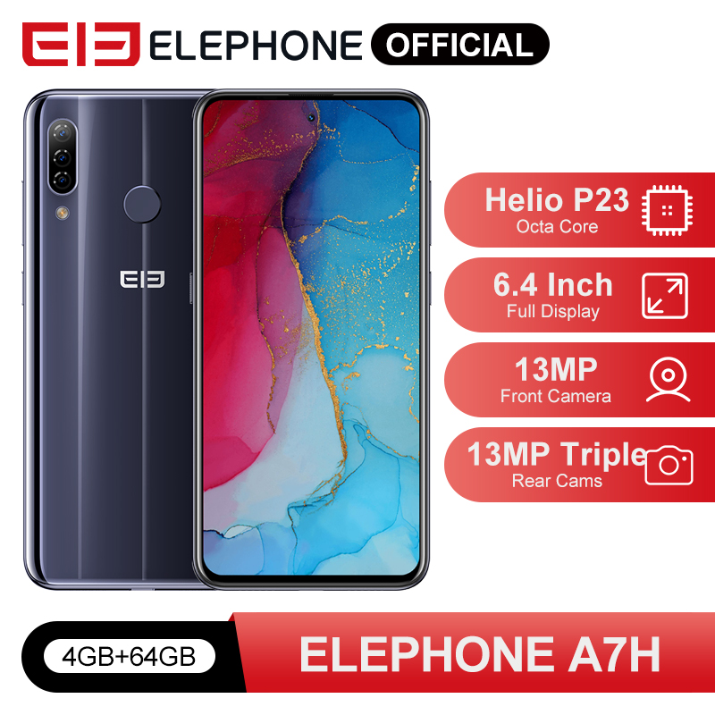 "ELEPHONE A7H Helio P23 4GB RAM 64GB ROM Smartphone 6.4"" Octa Core Android 9.0 3900mAh Fast Charging Fingerprint Recognition"