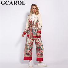 GCAROL 2020 WomenSets Pajama Notched Collar Floral Blazer Sashes Vintage Jacket Elastic Waist Wide Leg Pants 2 Pcs