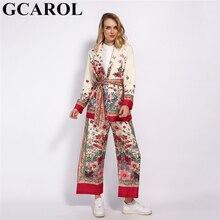 GCAROL 2020 WomenSets Pajama 노치 칼라 꽃 무늬 블레이저 새시 빈티지 자켓 신축성있는 허리 와이드 레그 팬츠 2 Pcs