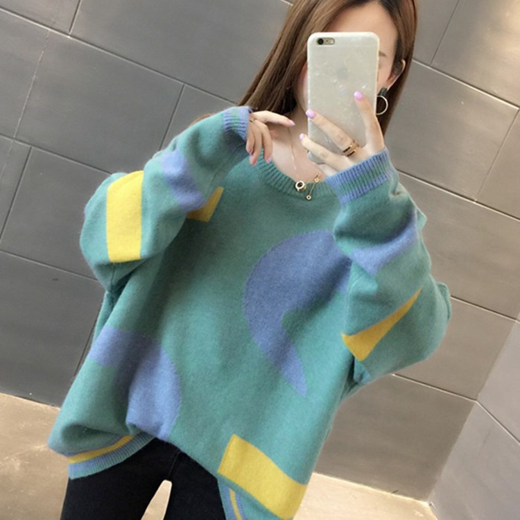 Autumn And Winter Loose Korean Sweaters Women Sueter Mujer Invierno 2019 Color Long Sleeve Knit Sweater Women O-neck Pullovers