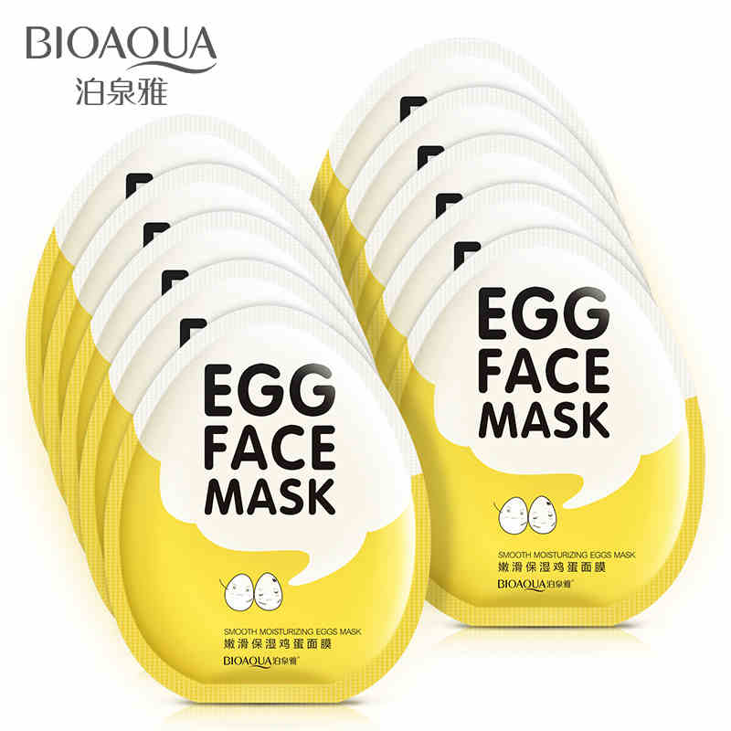 10Pcs BIOAQUA Egg Facial Masks Oil Control Brighten Wrapped Mask Tender Moisturizing Face Skin Care moisturizing mask
