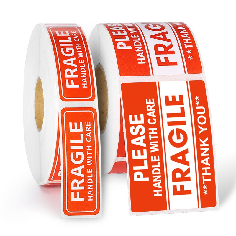 1Roll 500pcs/1000pcs Fragile Shipping Lable Sticker Express Warning Lable Tape Packing Tape