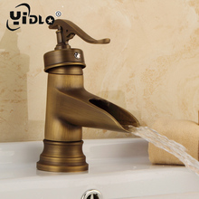 Antique Classic Brass Faucet Bathroom Faucets Quick Open Deck Mount Sink Basin Mixer Tap Wiredrawing Brass Waterfall Faucet modern design antique brass open spout basin faucets fashion bathroom mixer vintage bathroom sink faucet
