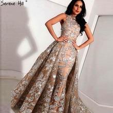 Nude Silber Pailletten Sparkle Vintage Abendkleider Halter Luxus Sexy Ärmellose Abendkleider 2020 Ruhigen Hill LA60877