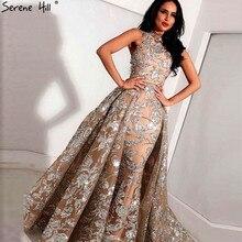 Serenhill robe de soirée, sans manches, Vintage, couleur chair, sequins scintillante, robe luxueuse, col licou, Sexy, LA60877, 2020