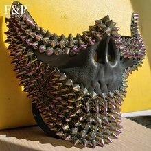 Burning Man Festival Steampunk Iridescent Skull Rivet Spike Half Face Mask Drag Queen Halloween Cost