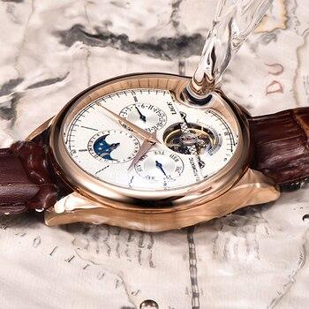 LIGE Brand Classic Mens Retro Watches Automatic Mechanical Watch Tourbillon Clock Genuine Leather Waterproof Military Wristwatch 3