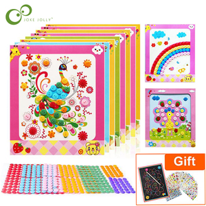 4Pcs Kids DIY Button Stickers Drawing Toys Handmade School Art Class Painting Drawing Craft Kit Children Early Educational GYH(China)