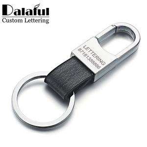 Dalaful Custom Lettering Keyring Keychain Genuine Leather Men's Simple Key chains Holder Keyfob For Car Accessories Gift K212(China)
