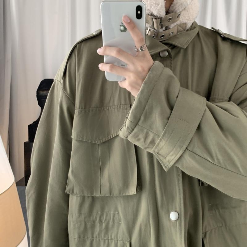 Зимняя новая утолщенная куртка из овечьей шерсти, Мужская теплая модная куртка с отворотом, Мужская Уличная свободная хлопковая куртка с несколькими карманами - 5