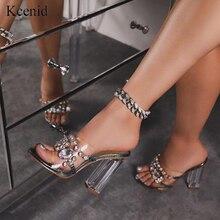 Kcenid אלגנטי קריסטל כפכפים נעלי אישה גבוהה העקב סנדלי נשים אופנה ריינסטון להחליק על פרספקס העקב נשים פתוח סנדלי