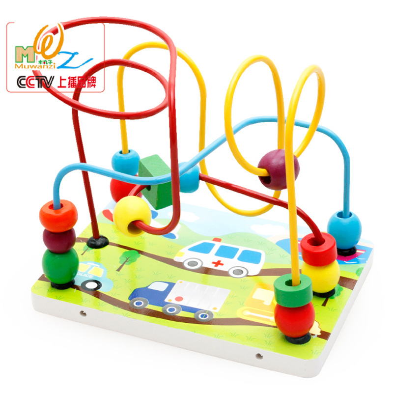 Wooden Toys Marine Organism Bead-stringing Toy Traffic Tools Bead-stringing Toy Children'S Educational Bead-stringing Toy