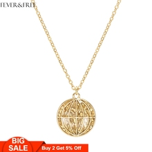 Fever&Free Shiny Gold Personalized Globe Collar Necklaces Planet Earth Wold Pendant & Fashion mujer kolye bijoux femme