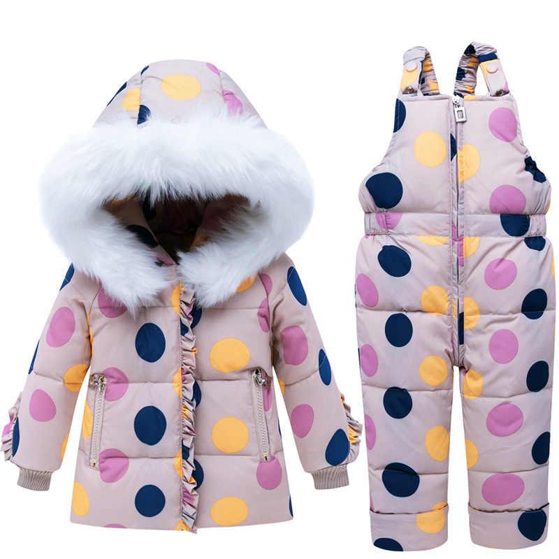 2019 ベビー冬生き抜くジャケット少年少女リアル毛皮の襟のコートベビー幼児ストラップ二枚雪セット