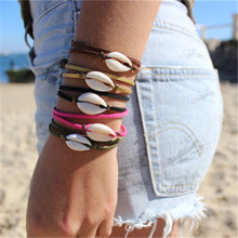 Boho 4 Colors Double Layer Rope Chain Link Bracelets for Women Fashion Natural Shell Bracelet Beach Jewelry