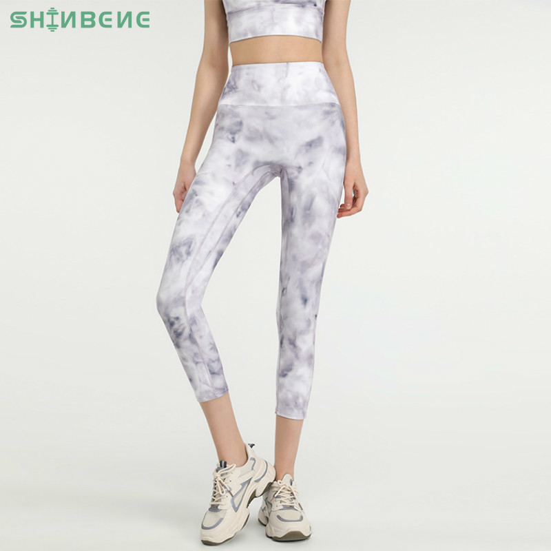 SHINBENE Tie Dye NO FRONT SEAM Sport Gym Yoga Capri Leggings Women Y-type Hip Line High Waist Workout Fitness Cropped Pants