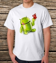 Android Mascot -Men Graphic T-Shirt   Men Hot Cheap Short Sleeve Male Tshirt