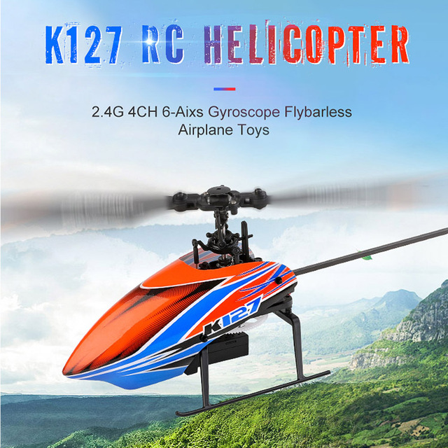 XK k127 Self Stabilizing 6-Axis Gyroscope 4CH One Key Take Off Landing Flybarless Altitude Hold RC Helicopter RTF For Kids 1