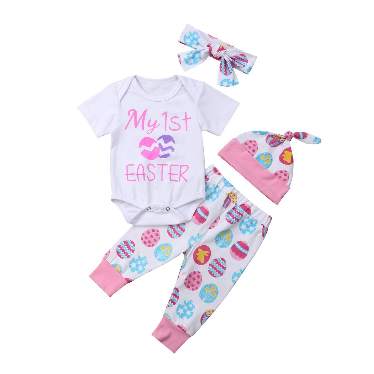 2020 Newborn Baby Girl Boy 0-24M My 1st Easter Romper Bodysuit+Pants Hat Outfit Set UK