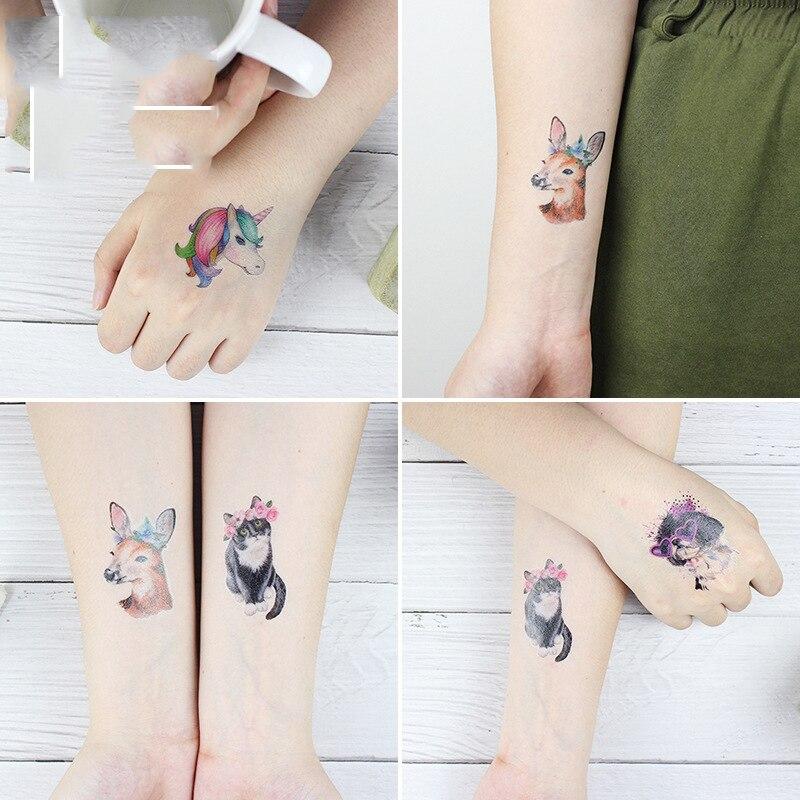 Cute Unicorn Deer Sheep Cat Temporary Tattoo Sticker Waterproof Fake Tatoo Hand Foot Arm Tatto Stickers For Girl Women Kids