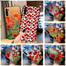 Red Poppies flowers DIY phone Case cover Shell for Huawei P20 P30 P40 lite E Pro Mate 30 20 Pro P Smart 2020 prime