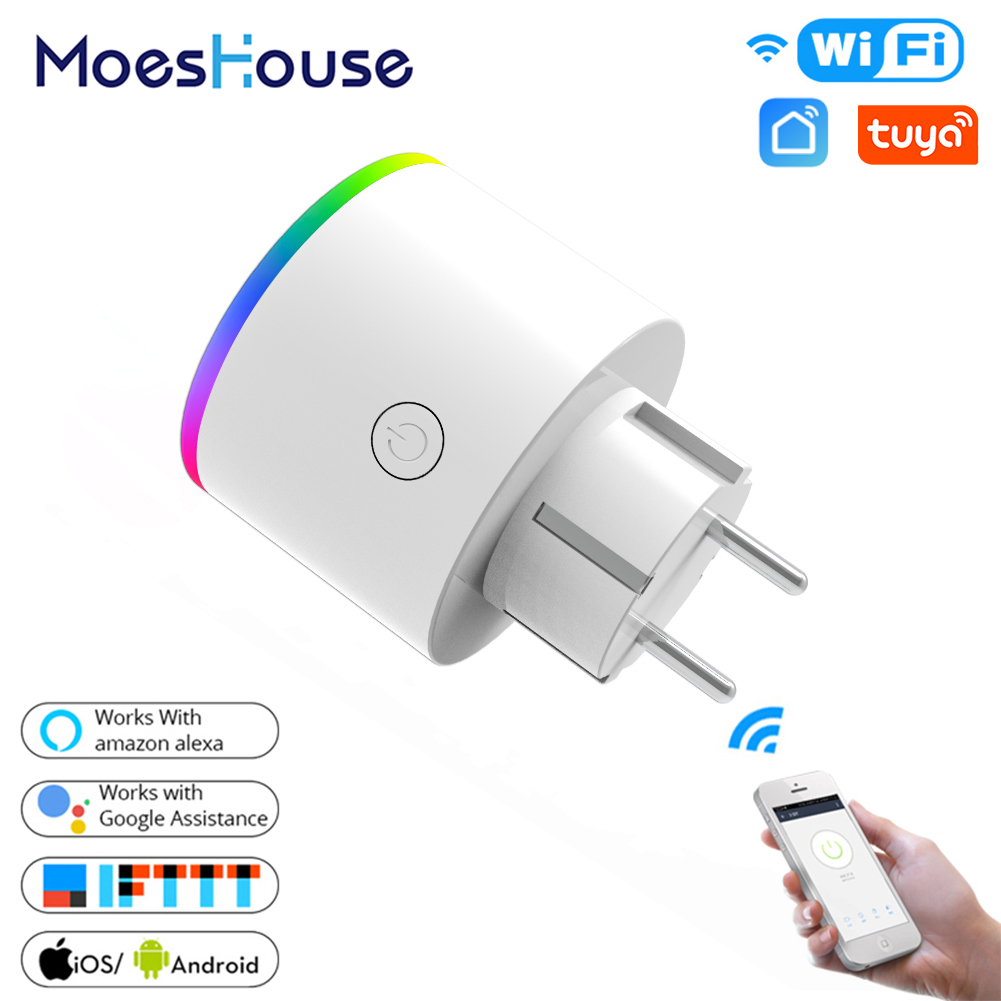WiFi Smart Plug Wireless RGB Power Socket Smart Life Tuya App Wireless Remote Control Work with Alexa Google Home