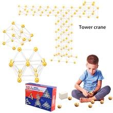 130 pces 12-hole magia construção bloco de construção brinquedos bolas caule brinquedos, crianças arquiteto formação 3d quebra-cabeça brinquedos para crianças