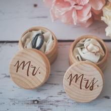 2 unids/set el Sr. Y la Sra. Anillo de boda rústica caja de madera anillo portador caja anillo titular Vintage de decoración de la boda