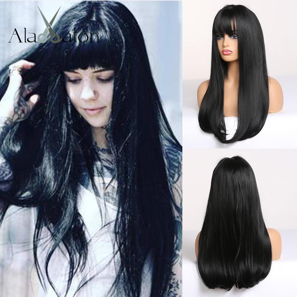 ALAN EATON Black Long Straight Wig with Bangs Synthetic Hair Wigs for Woman Heat Resistant Fiber Party Cosplay Costume Wigs