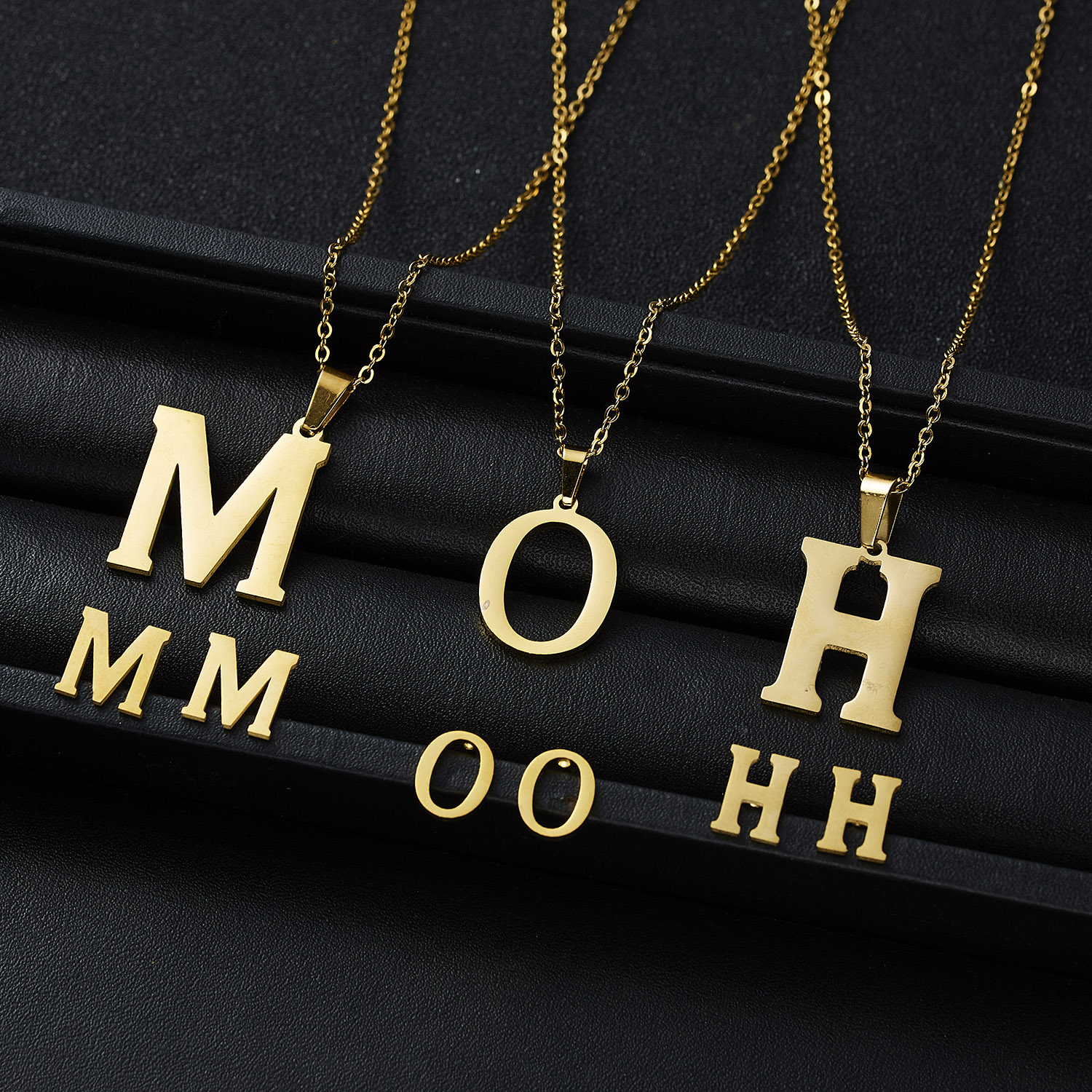 Rinhoo 1Set Gold <font><b>Stainless</b></font> <font><b>Steel</b></font> Letter Shape Pendant Link Chain Necklace and Stud Earring <font><b>For</b></font> <font><b>Women's</b></font> Fashion <font><b>Jewelry</b></font> Gift image