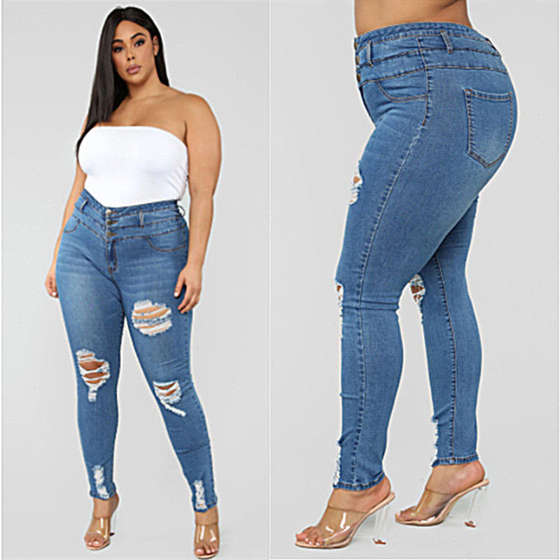 Plus size clothing XL-5XL women's ripped jeans high waist skinny denim jeans casual pencil pants high quality wholesale price(China)