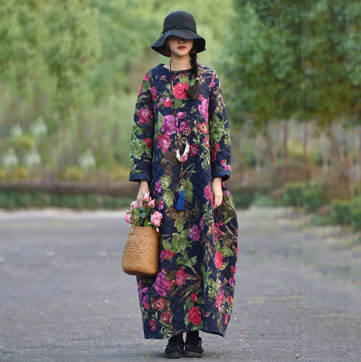Free Shipping 2019 New Chinese Style Cotton Long Maxi Women Long Sleeve Loose Dress Winter Thick Warm Dresses Flower Print