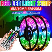 Bande lumineuse RGB 5050smd, ruban lumineux Flexible, 5/10/15/20m, lampe colorée pour décoration de salle, dc 12v