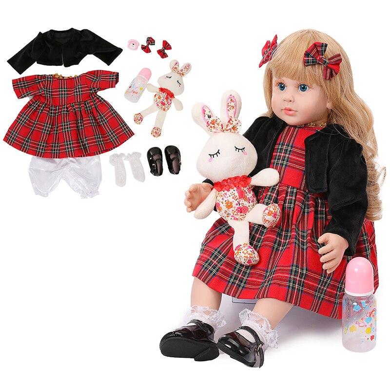 60cm grande taille Reborn bambin poupée jouet réaliste vinyle princesse bébé avec licorne tissu corps vivant Bebe fille cadeau d'anniversaire