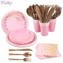 FENGRISE 168PCS Rose Gold Party Disposable Tableware Cups Towel Paper Plate Spoon Birthday Decor For Kids