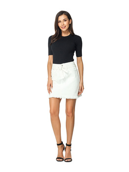 Straight Denim Jeans Above Knee Mini Empire Lace-up Pockets White Solid Street Casual Skirt 8