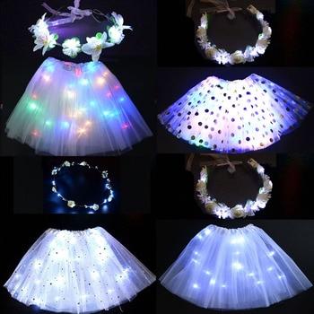 White Women Flower Girl LED Blinking Wreath Light Up Skirt Tutu Cosplay Costume Holiday Clothes Dance Ballet Wear Wedding