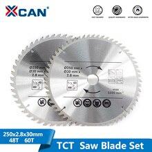 Xcan Multifunctionele Hout Zaagblad 2Pcs 250Mm 48T 60T Tct Zaagblad Hout Snijden Disc