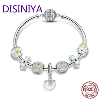 DISINIYA 925 Sterling Silver White Daisy Flower Dazzling CZ Pendant Bracelets Bangles for Women Sterling Silver Jewelry SCB806