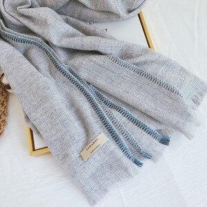 Image 5 - Marke Designer Kaschmir Schal Frauen 2019 Winter Schals Hohe Qualität Schals und Wraps Dicke Warme Pashmina Dame Decke Schal