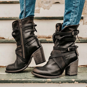 Plus size Winter Boots Women Ladies Retro Square Heels Mid-calf Ziper Casual shoes woman Rome Boots botines mujer 2019(China)