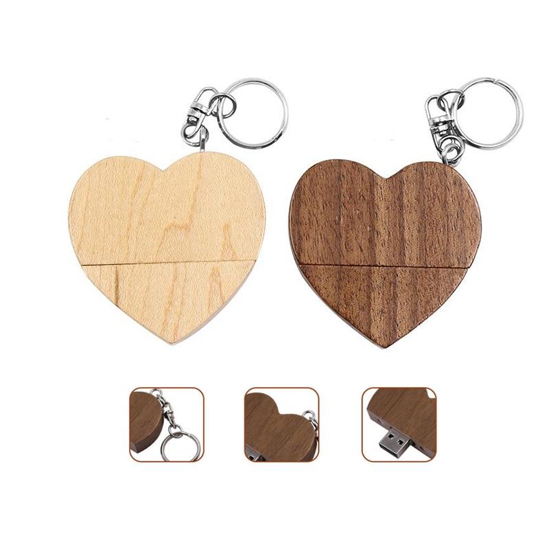 USB Stick Pendrive 128gb Wooden Heart Usb Flash Drive 4gb 8gb 16gb 32gb 64gb Memoria Usb Wedding Gifts For Guests Pen Drive Cle