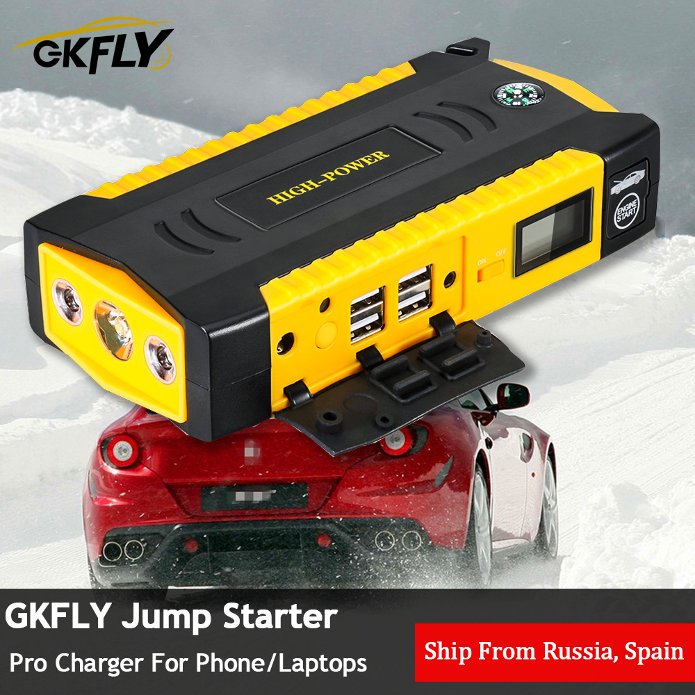 GKFLY Car Jump Starter Multi Function 16000mAh Starting Device Cables 12V Diesel Petrol Charger For Car