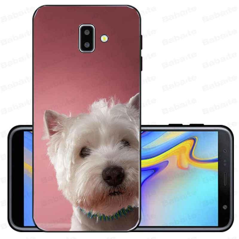 כיסוי עבור galaxy j6 בתוספת 2018 Westie כלב רך סיליקון שחור טלפון מקרה עבור samsung galaxy j6 בתוספת A6 A8 A9 A10 a30 A50 כיסוי