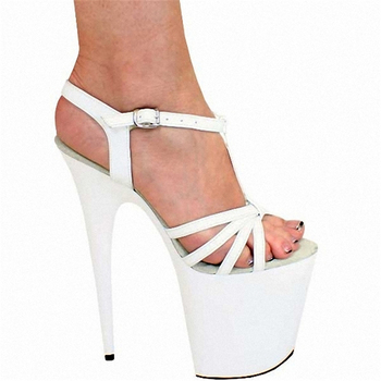 20cm super stiletto heel platform platform platform platform open-toe sandals hollow black women's shoes plus-size model shoes фото