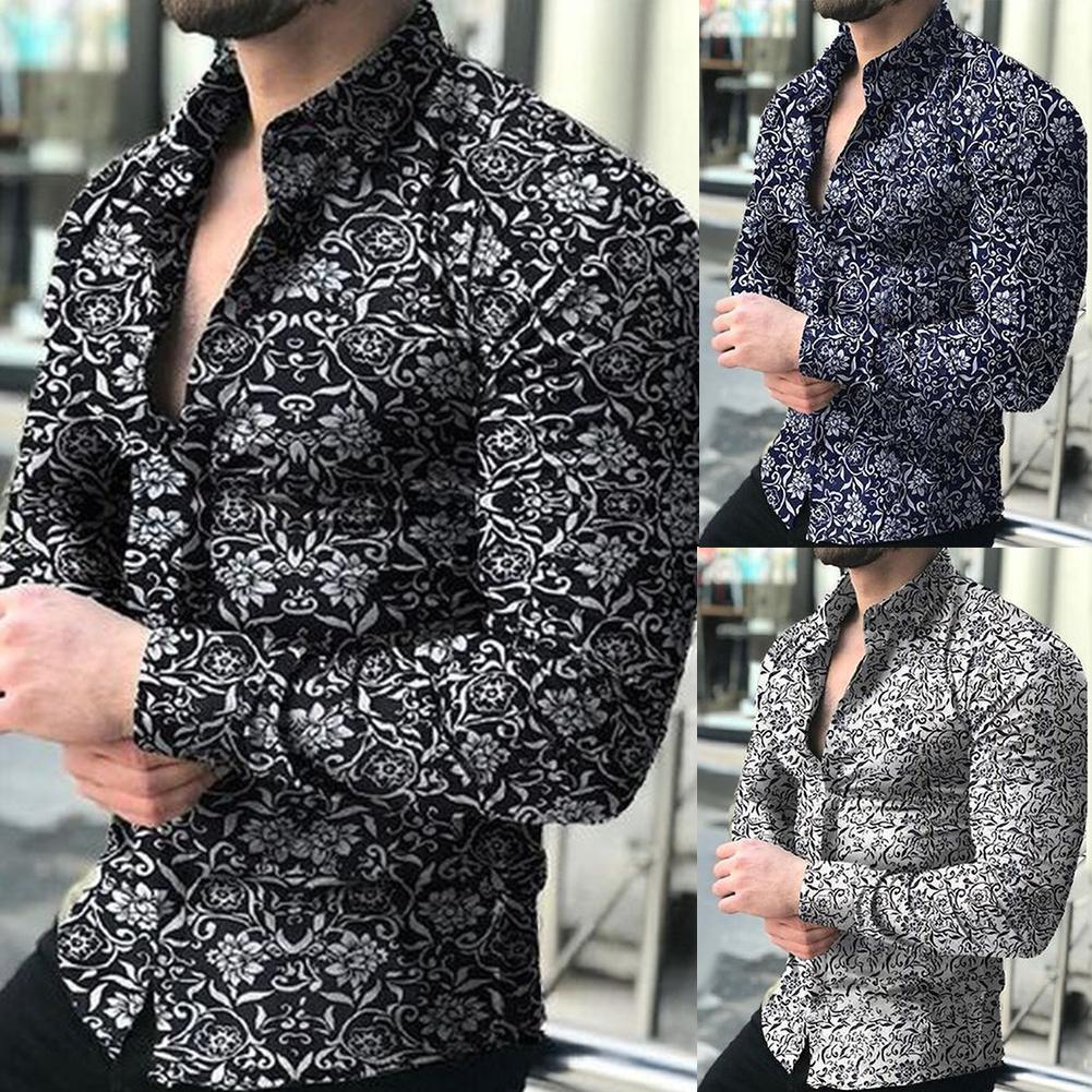 Spring Autumn Business Men Fashion Floral Print  Long Sleeve Shirt Top Men Shirt Clothing